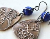 Tribal Bird Earrings, Lapis Lazuli, Wire Wrapped Stone, Hypoallergenic Niobium Ear Wire Earrings