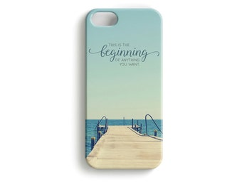 New Beginnings - phone Case inspirational typography start quote this is the beginning of anything you want