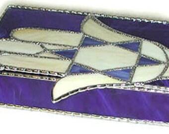 Stained Glass Jewel Box, Jewish Design, 6 x 8, Glass Jewelry Box, Hamsa,  Star of David Design, Jewish Gift Idea, Bat Mitzvah Gift - 0048-BB