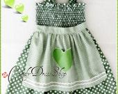 Green apron dress - Polka dot apron dress for girls - Green and white polka dot apron dress for little girls - green dress for girls