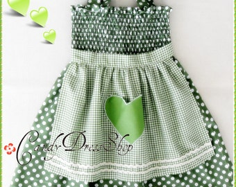 Green and white polka-dot dress for girls, Green polka-dot apron dress, Girls green and white polka-dot apron dress, green dress for girls