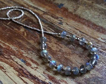 Long Labradorite Necklace Pyrite Hill Tribe Silver Beads Beaded Beadwork Boho Layering Necklace Woman's Statement Necklaces Gifts for Her