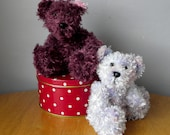 Hand Knitted Teddy for Collectors - Knitted Bear - 8 inches - Lilac Knitted Bear - Damson Knitted Bear