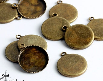 10Pcs 14mm Antique Bronze Plated plated Raw Brass Round Cameo Base Setting Charm / Pendant with One Loop  (SETHY-250)
