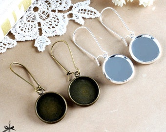 16mm Antique Bronze / Silver finish base tray earring Ear Wires- cabochon With Round 16mm base   (EAR - 98 / 99)
