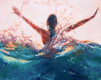 Mermaid Art print of painting Break Open // Giclee Print of original painting of woman beneath the pulse of the waves