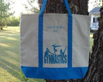 Personalized Large CANVAS Tote Bag- Gymnastics Bag