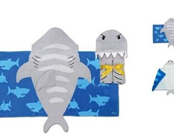 Personalized Hooded Beach Towel, Hooded Shark Towel, Stephen Joseph Hooded Towel, shark Towel