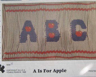 Smocking Plate - A is for Apple #009 by Fancy Stitches (Chris Pearce) (book 5)