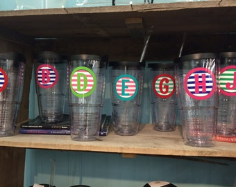 Stripe Vinyl Personalized tervis style tumbler 24 oz insulated BPA free double walled fundraiser Monogrammed for you