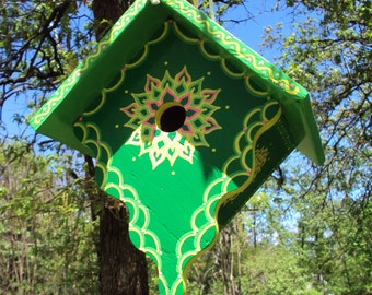 Green and Bright Greeb Roof Birdhouse/ Handmade and Handpainted / Floral Designs/ Yellow/  Pink and Green Accent Colors / Rope Attached