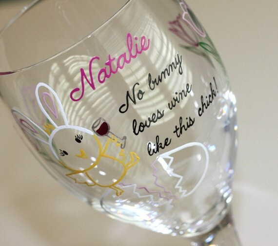 easter wine glass spring glasses chick bunny bunnies. Black Bedroom Furniture Sets. Home Design Ideas
