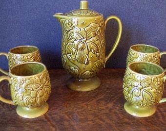 Mid Century Green Majolica Ceramic Coffee Tea Service Made in Japan