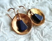 Copper Penny and Lapis Lazuli Earrings, Free US Shipping