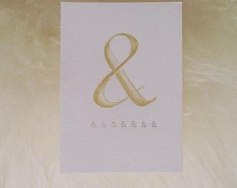 Ampersand and & symbol. Typewriter Love, Original watercolour freehand painting
