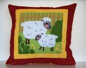 SALE, Barnyard Pillows, Farm, Kids Bedding, Sheep