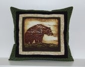 Mountain View Pillows, Rustic Cabin Decor, Bear