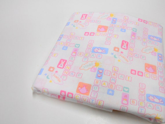 Special listing nursery print fabric 1 7 8 yd remnant for Nursery print fabric