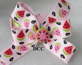 Dog Collar Watermelon Slices Seeds Pink Red Green w Ribbon bow Adjustable Dogs Collars D Ring Choose Size Accessories Pet Pets Accessory