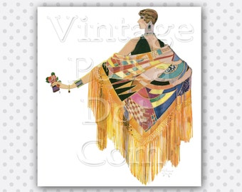 Art Deco Clip Art Lady Holding Flowers in Color Wearing Shawl Printable Digital Collage Sheet Scrapbooking Clipart
