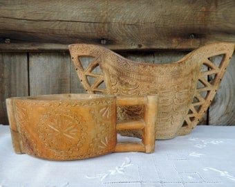 Vintage Carved Wooden Wedding Cups for Bride and Groom made in Yugoslavia Weddings