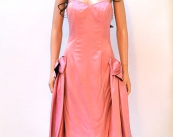 Vintage 80s Prom Dress Pink Size Small// 80s Pink Strapless Party Dress Size Small Barbie Dress