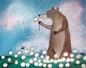 Original Nursery Wall Art Bear Illustration Kids Art Woodland Nursery Cute Bear Wish Flowers Blue Storybook Artwork for Children