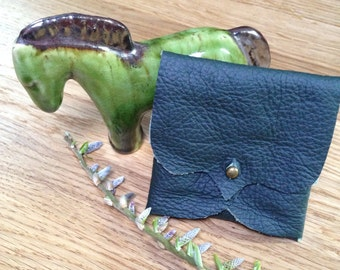 Forest Green Leather Earphone or Earbud Pouch or Just a Cute Pouch. Silver Coloured Rivet Closure. Eco Friendly.
