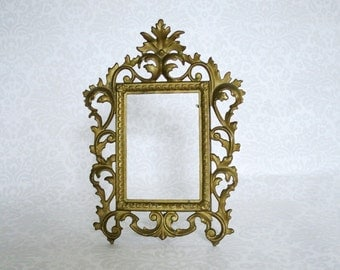 Vintage Wedding Brass Frame, Vintage Brass Frame 1930s Numbered Scroll & Leaf Frame, Easel Back Brass Cast Iron Flourish Picture Frame