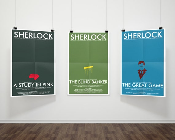 SAVE 5% - Consulting Detective Inspired 3-Print Series Part 1 // Minimalist Sherlock Prints with Pill, Paint, & Character Illustrations