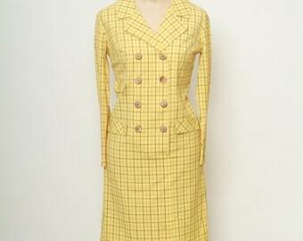 Vintage 60s Plaid Dress / Mod Dress / Yellow Plaid Dress / Mad men Dress /