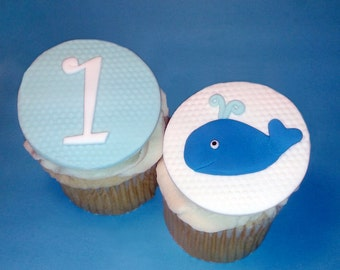 Fondant cupcake toppers Whale Baby Shower Birthday