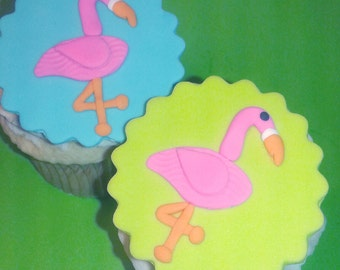 Fondant cupcake toppers Flamingo Summer party