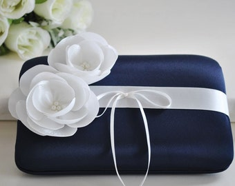 Beautiful Wedding ring Bearer Pillow / You Choose the Colors..shown in Midnight blue with Off white satin flowers