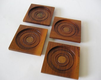 1963 Canadian penny mid century vintage set of 4 teak coasters beveled made in Canada