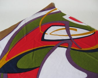 Mid century mod vintage silky stretch polyester knit fabric swirly multicolour abstract print