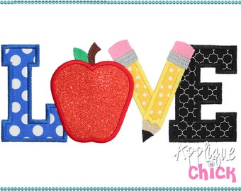 Love School Applique Design