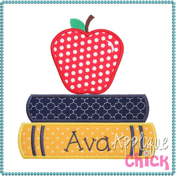 Books and apple applique design for Apple design book