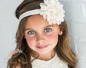 Baby Headbands, Ivory Headband, Baptism Christening Headband, Flower Girl Lace Headband,Baby Girl Headband,Newborn Headband, Flower Headband