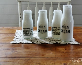Farmhouse Milk Bottle with Milk and Cream Co. or Egg Saver Advertisement - Upcycled