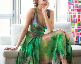 Green gold yellow pink lavender boho chic bridal mother of the bride dress hand made wedding gown OAAK by momosoho tie dye beach dress