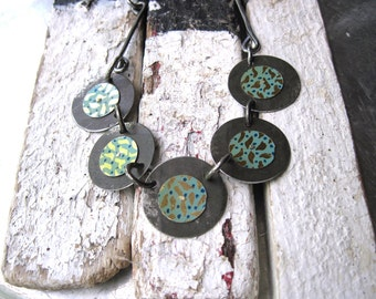 Vintage Turquoise and Gold Tin Disc Necklace-Industrial Chic-Ten Year Anniversary
