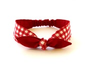Headband Baby Toddler Pre-tied Headscarf Red Gingham over Solid Red Infant Newborn Headwrap Photo Prop