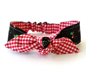 Headband Baby Toddler Pre-tied Headscarf Black Cherries over Red Gingham Infant Newborn Headwrap Photo Prop Baby Shower Gift #010