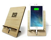 Personalized iPhone Charging Stand with Laser Etched Designed. Natural Birch -  iPhone 6 Plus, iPhone 6 or iPhone 5