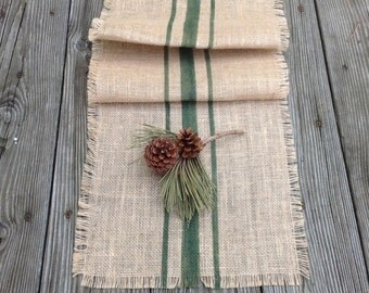 Burlap Woodland Green Striped Table Runner 10-14x48 or 10-14x60 Rustic Grain Sack Home Decor