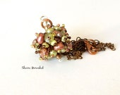 Pendant Necklace - Pearl Sea Anemone Beaded Bead  by Sharri Moroshok - copper and olive green