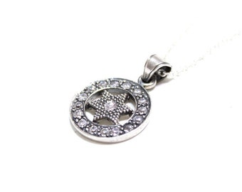 Star of David Sterling Silver Swarovski Crystal Pendant Necklace Magen David