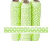 Lime with White Polka Dots - Fold Over Elastic - 5 YARDS