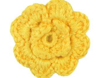 Yellow Crochet Clip Flower